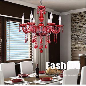 Lustre en verre cristal luxe 6 lumières Rouge pour salon hôtel