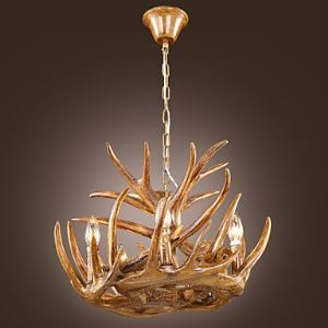 Style Classique Lustre suspension de cerf Ampoules marron coloris bois en Résine Peinture