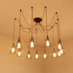 (Entrepôt UE)Lustre à 12 lampes en fer à repasser antique suspension lampes de plafond décorative rétro luminaire cuisne chambre salle