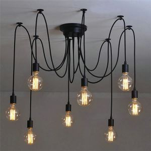 Suspension araignée lampe de plafond à 8 lumières noir style rustique