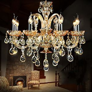 Lustre Luxe Cristal 8 lumières baroque pour salon chambre hôtel