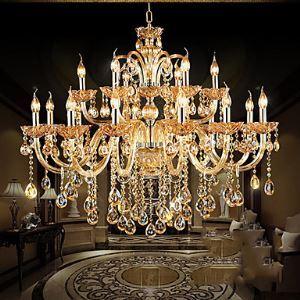 Lustre à 18 lampes style classique Luxe Cristal abat-jour en forme de bougie pour salon chambre hôtel