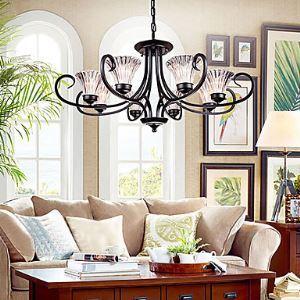 (Entrepôt UE)Style Moderne Contemporain Lustre noir 8 lumières luminaire pour Salon,chambre,salle à manger,bureau,hôtel