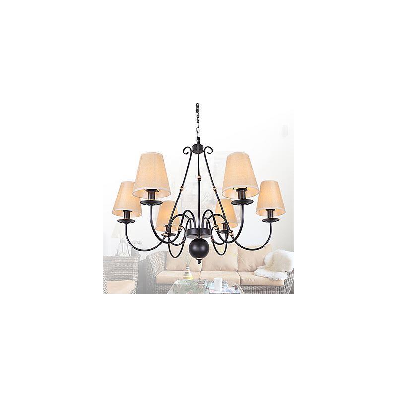 lustre noir abat jour en tissu beige 6 lumi res luminaire pour salon chambre salle manger. Black Bedroom Furniture Sets. Home Design Ideas