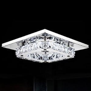 (Entrepôt UE)Plafonnier LED Cristal installation intégrée, 1 Lampe, Moderne Transparent Placage en acier inoxydable luminaire chambre cuisine restaurant pas cher