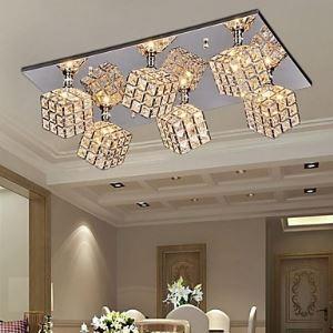Carré plafond Lampe avec 6 Ampoules Cristal