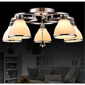 Putian@ Cristal LED installation intégrée,5 Lampe, Moderne Mode Blanche en acier inoxydable  verre