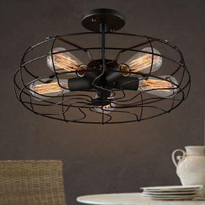 (Entrepôt UE)  Lustre Américain Pays industriel Conceptioner Lampe individuation Restaurant Balcon Lampe Européen Rétro Fan plafond Lampes