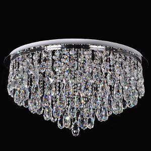 (Entrepôt UE) Plafonnier Cristal LED Moderne/Contemporain Salle/Salle à manger/Crystal Métal/Contrôle incluse/Blanc+ Blanc Chaud
