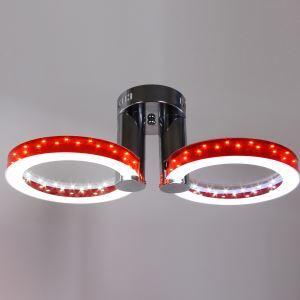 Plafonnier à 2 lampes LED acrylique D56cm design luminaire pour restaurant couloir pas cher