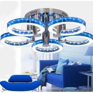 Plafonnier à 5 lampes LED D 72 cm en acier inoxydable acrylique pour cuisine salle