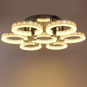 Plafonnier à 7 lampes LED en Acier Inoxydable Argent D85cm pour salon salle restaurant