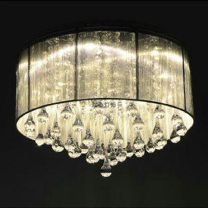 (Entrepôt UE)Lustre élégant lumière cristal Moderne Simple Mode 6 lampes Rond Plafonnier suspension design pour cuisine chambre de fille