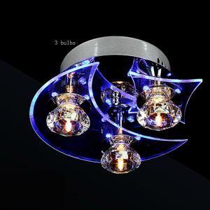 (Entrepôt UE) Plafonnier Moderne Mode Trois Têtes Quatre Têtes Rond Cristal Lampe de plafond design luminaire couloir entrée cuisne salon chambre