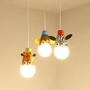 Lustre à 3 lampes animaux D40cm design pour chambre d'enfant style moderne