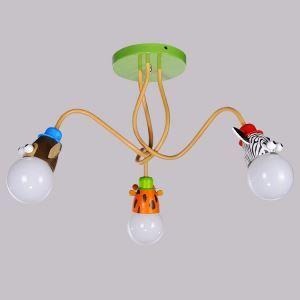 Plafonnier à 3 lampes LED D 55 cm cartoon signes luminaire design pour chambre d'enfant pas cher