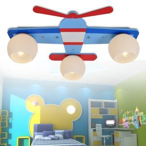 (Entrepôt UE) Moderne Mode Cartoon LED Avions en Bois Creative Trois Têtes Lustre