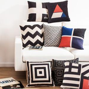 (Entrepôt UE) Style Européen Nordique Classique Motifs Géométriques Noir blanc et Rouge Huit Modèles Canapés Bureau d'Oreiller Lin