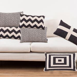 (Entrepôt UE) Style Nordique Noir Blanc Classique Quatre Modèles Canapés Bureau d'Oreiller Lin