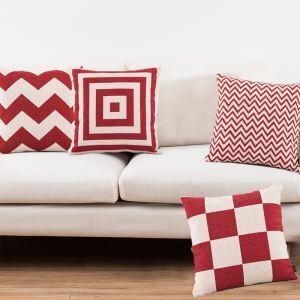 (Entrepôt UE) Style Nordique Rouge Blanc Classique Quatre Modèles Canapés Bureau d'Oreiller Lin