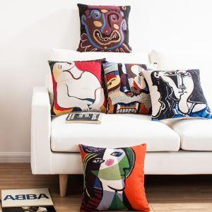 Style Européen Nordique Motif de Tableaux de Picasso Connus Coloré Cinq Modèles Canapés Bureau d'Oreiller Lin