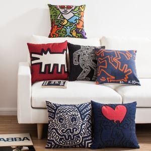 (Entrepôt UE) Style Européen Nordique Motif de Keith Haring Tableau Connu Sept Modèles Canapés Bureau d'Oreiller Lin