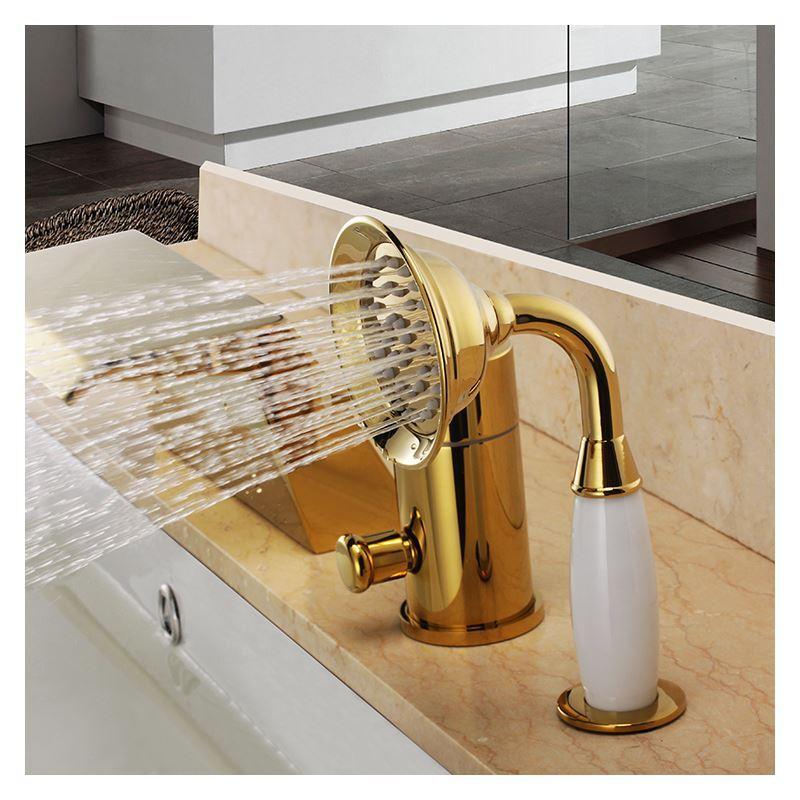 robinet de baignoire avec douchette ti pvd 3 trous 1 poign e r tro pour salle de bain. Black Bedroom Furniture Sets. Home Design Ideas
