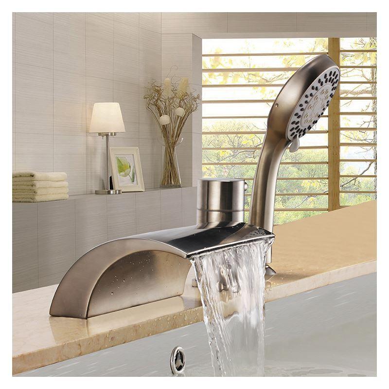 robinet de baignoire nickel 3 trous 1 poign e pour salle. Black Bedroom Furniture Sets. Home Design Ideas