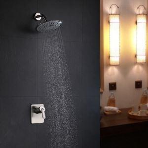 Colonne de douche encastrée 2 trous 1 poignée laiton nikel pour salle de bains