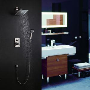 Colonne de douche encastrée 4 trous 2 poignées laiton nikel pour salle de bains