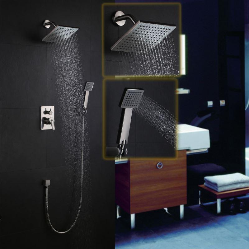 colonne de douche encastr e 4 trous 2 poign es laiton nikel pour salle de bains. Black Bedroom Furniture Sets. Home Design Ideas
