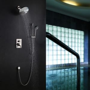 Colonne de douche encastrée 4 trous 3 poignées laiton nikel pour salle de bains