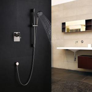 Colonne de douche encastrée Nickel 2 Trous 1 Poignée pour salle de bains