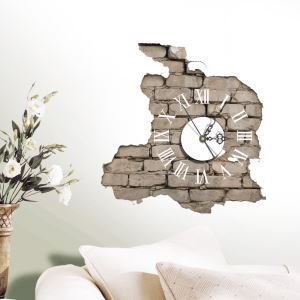 (Entrepôt UE) Moderne Simple Créative 3D Autocollants de Mur Horloge Murale Silencieuse