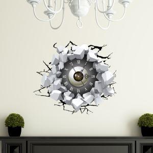 (Entrepôt UE) Moderne Simple Créative 3D Yeux Percés Mur Autocollants de Mur Horloge Murale Silencieuse