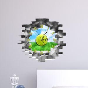 (Entrepôt UE) Moderne Simple Créative 3D Herbe Verte Ciel Bleu Autocollant Mural Horloge Murale Silencieuse