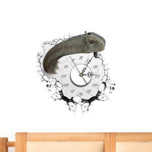 (Entrepôt UE) Moderne Simple Créative 3D Dinosaure Autocollants de Mur Horloge Murale Silencieuse
