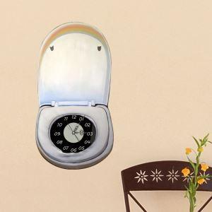 (Entrepôt UE) Moderne Simple Créative 3D Couvercle de la Toilette Personnalisée Silencieuse Horloge Murale
