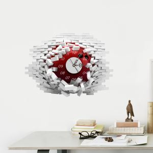 (Entrepôt UE) Moderne Simple Créative 3D Autocollant Mural Silencieuse Horloge Murale