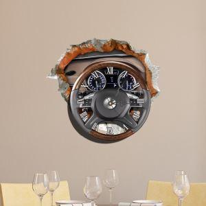 (Entrepôt UE) Moderne Simple Créative 3D Volant Autocollants de Mur Horloge Murale Silencieuse