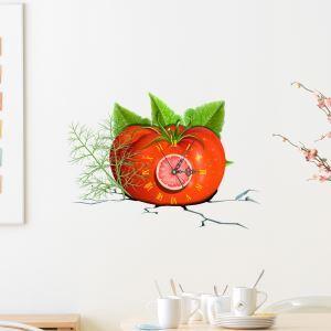 (Entrepôt UE) Moderne Simple Créative 3D Tomate Autocollants de Mur Horloge Murale Silencieuse