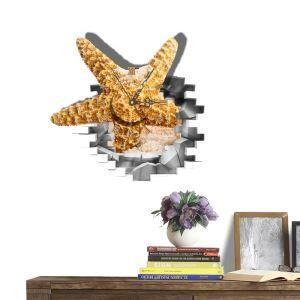 (Entrepôt UE) Moderne Simple Créative 3D Etoile de Mer Personnalisée Autocollants de Mur Horloge Murale Silencieuse