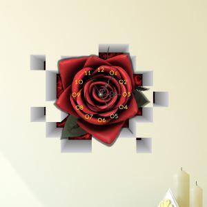 Moderne Simple Créative 3D Rose Rouge Autocollants de Mur Horloge Murale Silencieuse