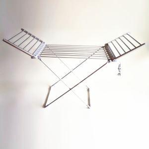 (Entrepôt UE) Moderne Simple Aluminium Gris Argenté Mobile Support de Porte-serviettes Chauffage Electrique 120W thermostatique