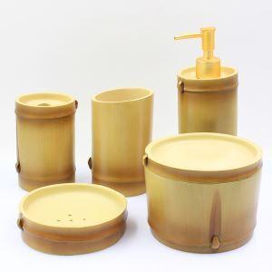(Entrepôt UE) Moderne Simple Résine de bambou imitation Créative Résine Kit de Lavage de Bain d'ensemble 5 Pièces Accessoires de Salle de Bain