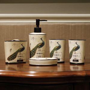(Entrepôt UE) Style de Jardin Européen Paon  Céramique Créative Résine Kit de Lavage de Bain d'ensemble 5 Pièces Accessoires de Salle de Bain