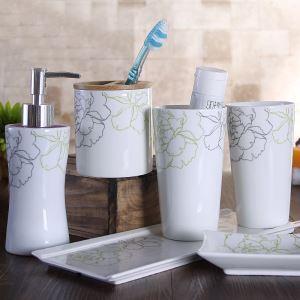 (Entrepôt UE) Moderne Simple Style Japonais Pivoine Céramique Créative Résine Kit de Lavage Accessoires de Bain 4/5 pièces fixes