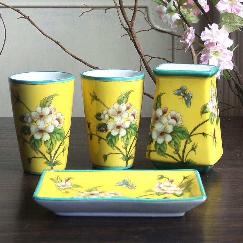 Style de Jardin Europ��en Fleur et Oiseau C��ramique Cr��ative R��sine Kit de Lavage de Bain d'ensemble 5 Pi��ces Accessoires de Salle de Bain