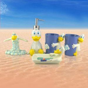 (Entrepôt UE) Cartoon d'enfant Donald Duck  Résine Créative Kit de Lavage de Bain d'ensemble 5 Pièces Accessoires de Salle de Bain