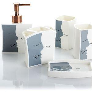 Moderne Simple Dent et lèvre Céramique Créative Résine Kit de Lavage de Bain d'ensemble 5 Pièces Accessoires de Salle de Bain